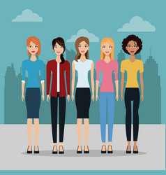female group fashion different city building vector image