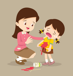 Girl stained at the shirt with teacher forgive vector