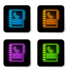 Glowing neon phone book icon isolated on white vector