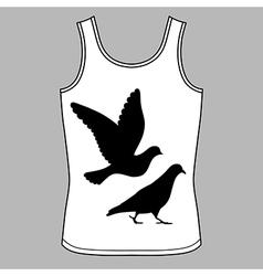 Going flying pigeons black silhouette singlet vector image