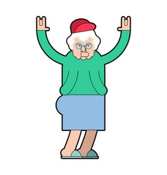grandmother cool grandma rock hand sign old lady vector image