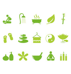 Green color spa icons set vector
