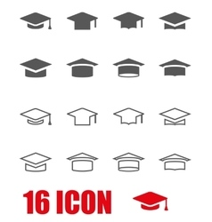 Grey academic cap icon set vector
