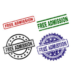 Grunge textured free admission seal stamps vector
