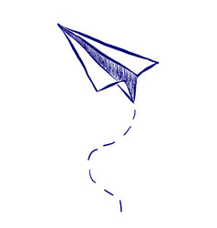 hand drawn paper airplane vector image