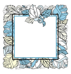 hand drawn sketch rose with leaves frame vector image
