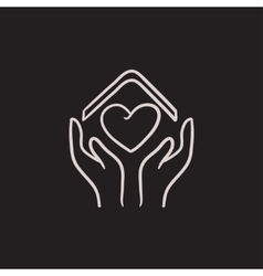 Hands holding roof of house and heart sketch icon vector image