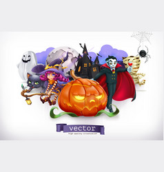 happy halloween pumpkin spider cat witch vampire vector image