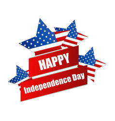 happy independence day 4th july ribbon and vector image