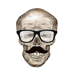 Hipster skull with sunglasses and mustache vector