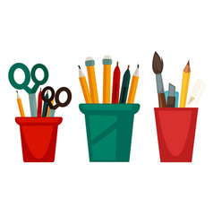 home and office work stationery in cups vector image