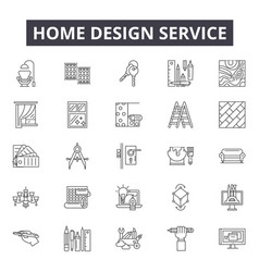 home design service line icons signs set vector image