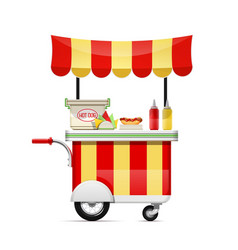 Hot dog cart fast food snack vector
