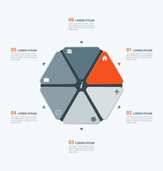 Infographic temlate with hexagon 6 options vector