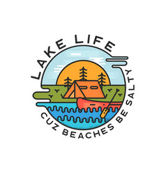 Lake life logo design modern liquid dynamic style vector