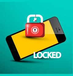 locked phone symbol cellphone with lock internet vector image