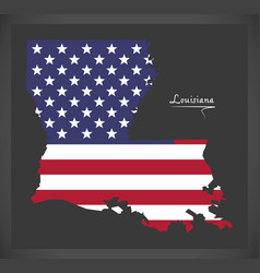 Louisiana map with american national flag vector