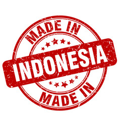 made in indonesia red grunge round stamp vector image