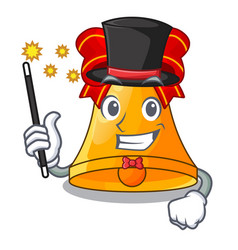 Magician golden christmas bell isolated on mascot vector