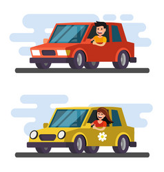 Man and girl driving car vector