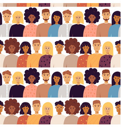 Many people portrait seamless pattern vector