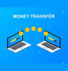 money transfer transaction between device laptop vector image