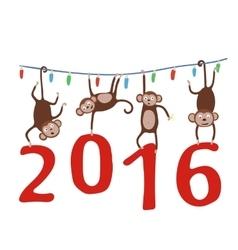 Monkey hanging on Christmas garland and holding in vector image
