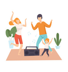 mother father and son dancing together parents vector image
