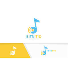 note and wifi logo combination music and vector image