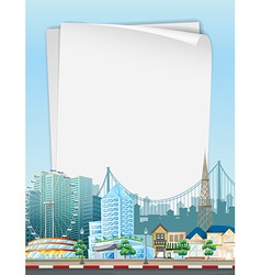 Paper template with city scene in background vector