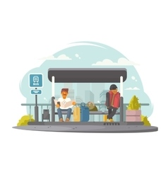 Passengers at bus stop vector