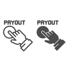 Payout button line and glyph icon hand and pay vector