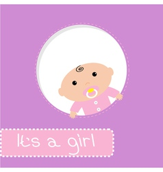 Peek-a-boo baby shower card Its a girl vector