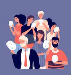 people covering faces with masks group persons vector image