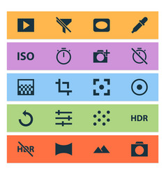 Photo icons set with photographing pattern tune vector