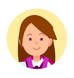 portrait of brunette joyful woman closeup icon vector image