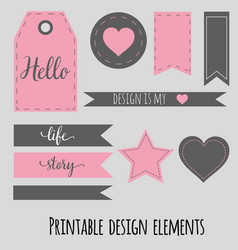 Printable design elements for scrabookng blog and vector