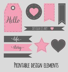 printable design elements for scrabookng blog vector image
