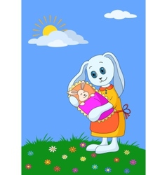 rabbit mother with baby vector image