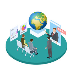save planet isometric concept lecture or vector image