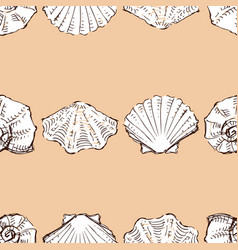 seamless pattern sketches various seashells in vector image