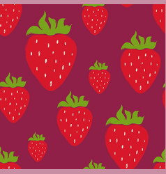 seamless pattern with red strawberry vector image