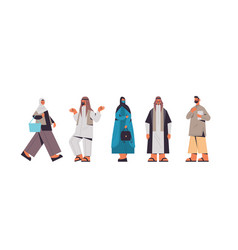 set arabic people in traditional clothes arab men vector image