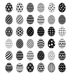 set easter eggs with patterns symbol icons vector image