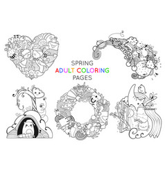 set spring adult coloring pages template vector image