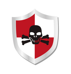 shield with skull security symbol isolated icon vector image