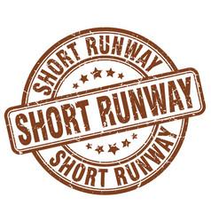 Short runway brown grunge stamp vector