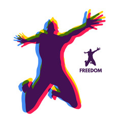 silhouette of a jumping man freedom concept vector image