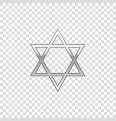 Silver star of david isolated object vector