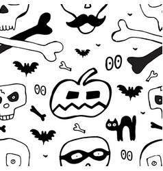 skulls hand drawn seamless pattern for halloween vector image